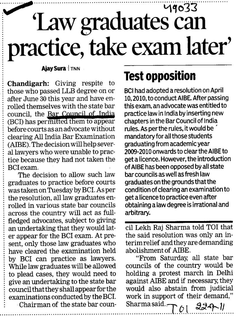 Law graduates can practice take exam later (Bar Council of India (BCI))