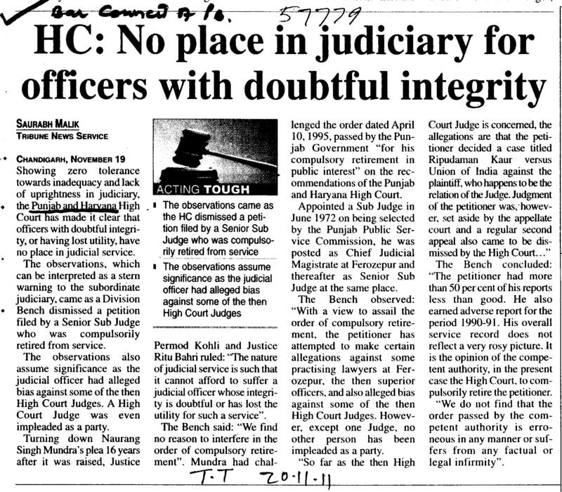 No place in Judiciary for officers with doubtful integrity (Bar Council of Punjab and Haryana)