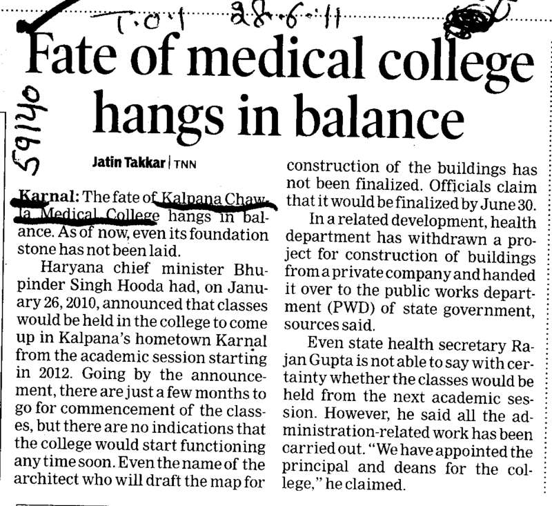 Fate of medical college hangs in balance (Kalpana Chawla Medical College)