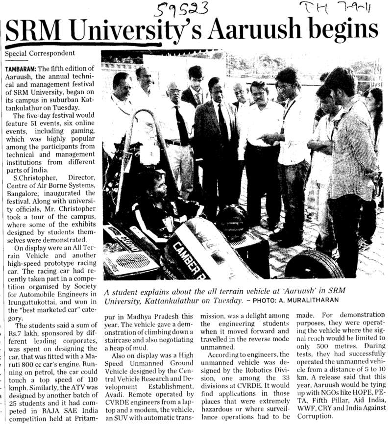 SRM University Aaruush begins (SRM University)