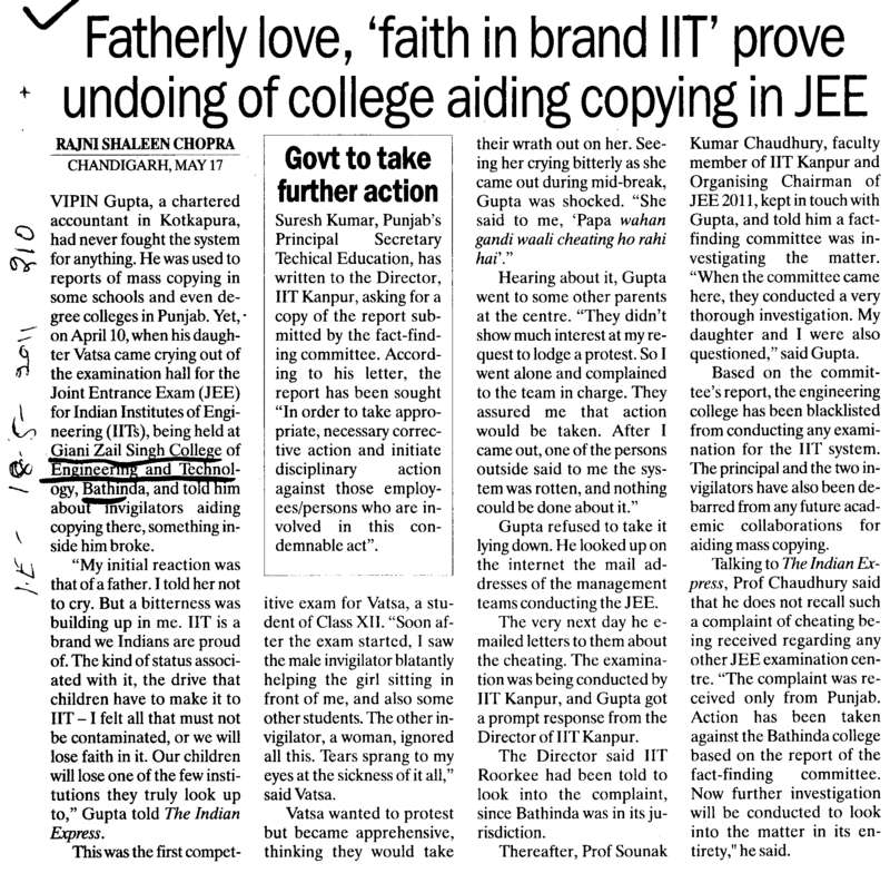 Fatherly love faith in brand IIT prove undoing of college aiding copying in JEE (Giani Zail Singh College Punjab Technical University (GZS PTU) Campus)