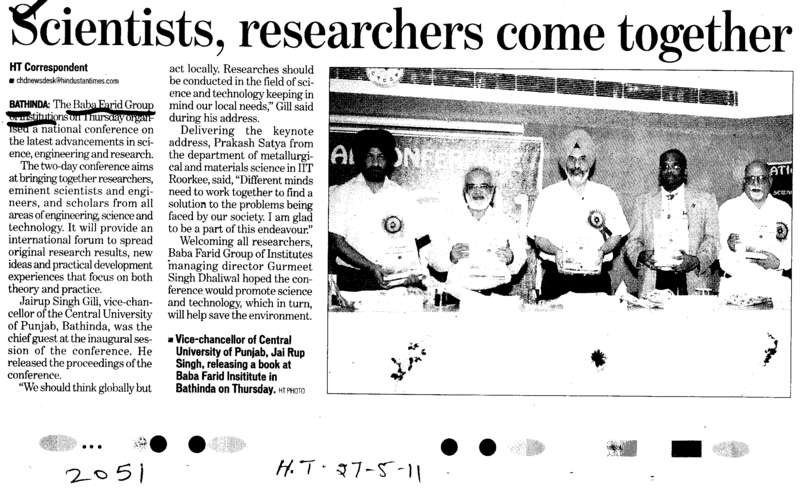 Scientists researchers come together (Baba Farid Group of Institutions)