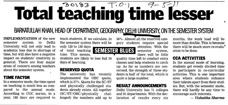 Total teaching time lesser (Delhi University)