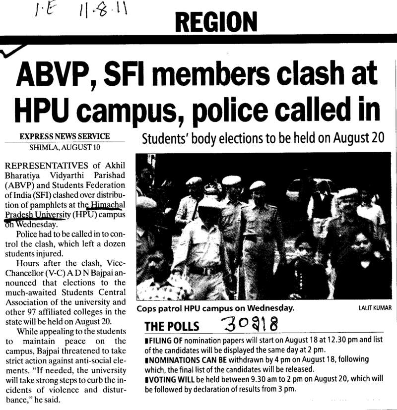 ABVP SFI members clash at HPU Campus police called in (Himachal Pradesh University)