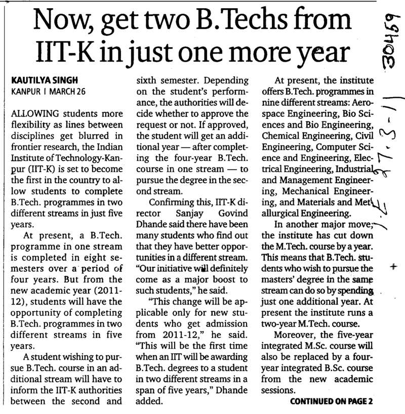Now get two BTechs from IIT K in just one more year (Indian Institute of Technology (IITK))