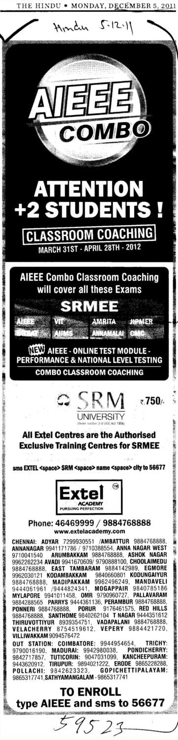 Attention 12th Students Classroom Coaching (SRM University Delhi NCR Campus (SRM Institute of Management and Technology (SRMIMT)))