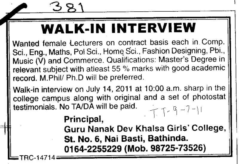 Lady Lecturer on regular basis (Guru Nanak Dev Khalsa Girls College)