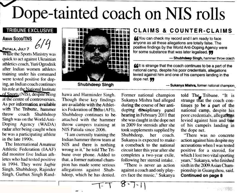 Dope tainted coach on NIS rolls (Netaji Subhas National Institute of Sports (NIS))
