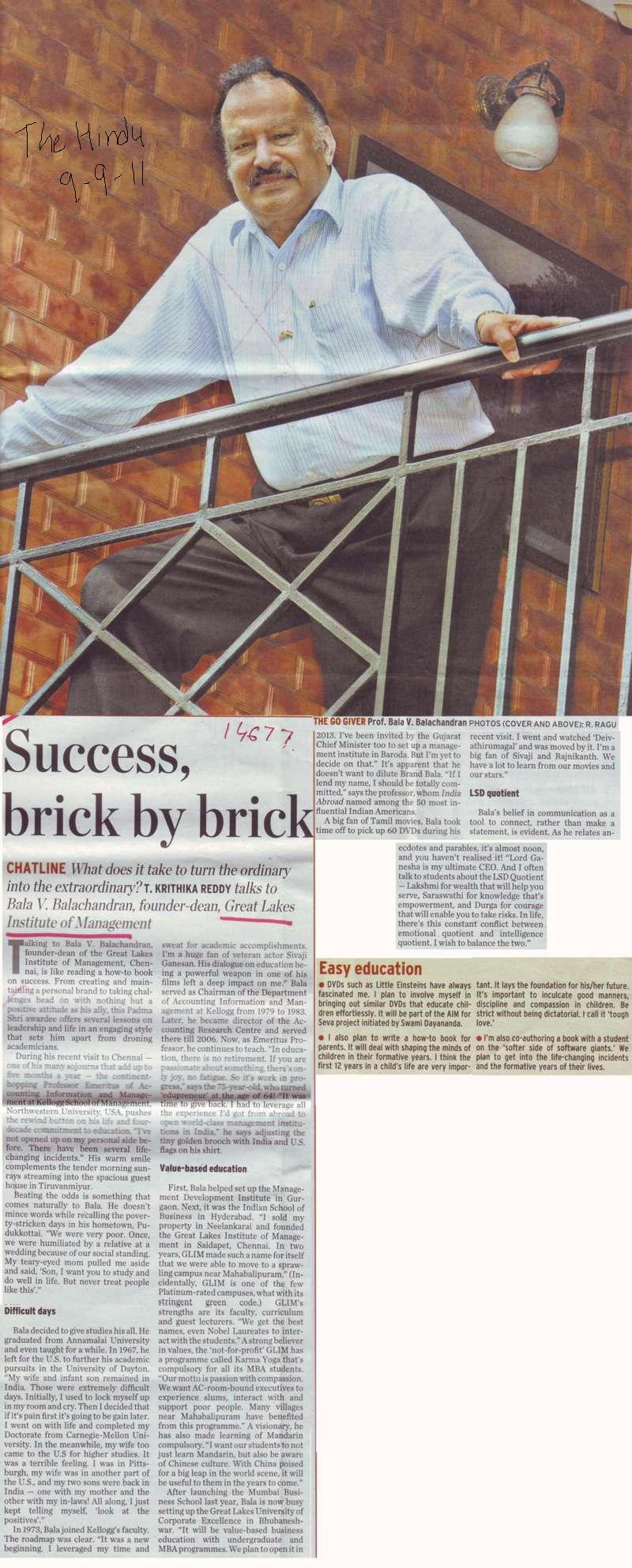Success brick by brick (Great Lakes Institute of Management)