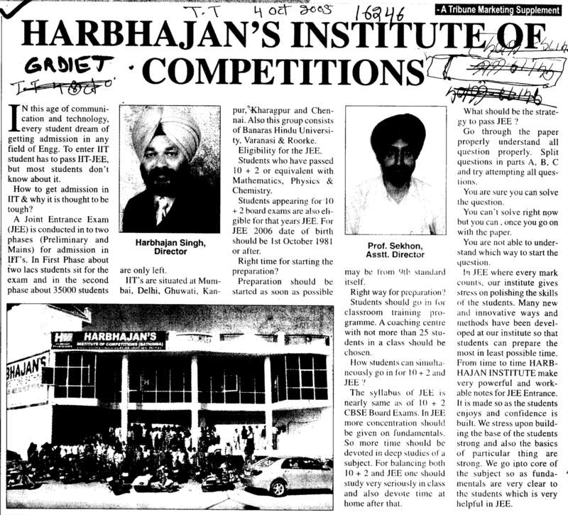 Message of Director Harbhajan Singh and Assistant Director Prof Sekhon (Harbhajans Institute of Competitions)