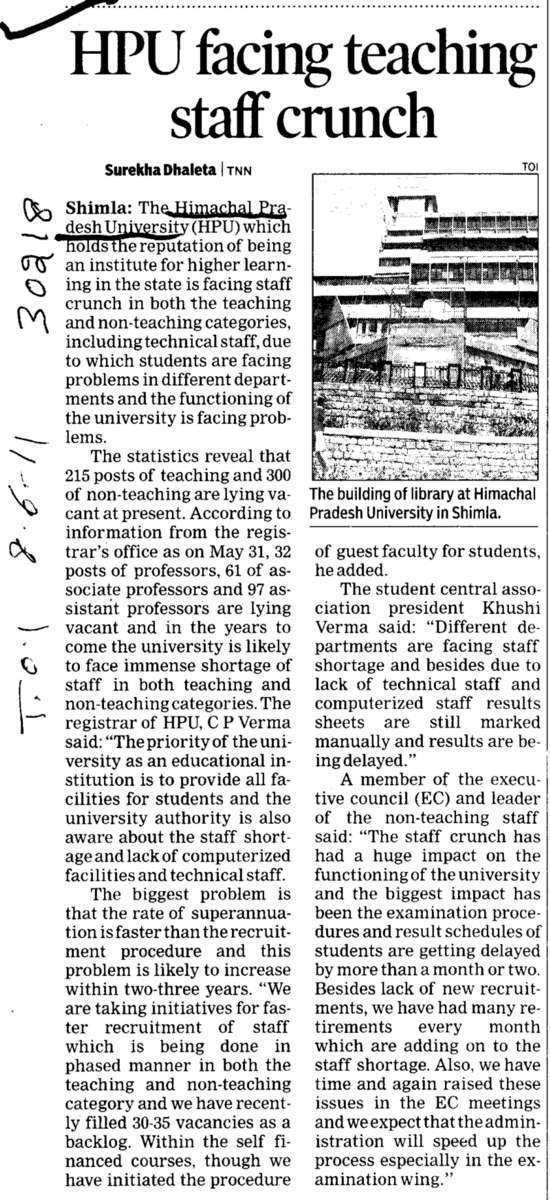 HPU facing teaching staff crunch (Himachal Pradesh University)