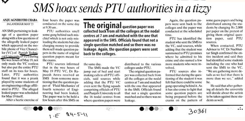 SMS hoax sends PTU authorities in a tizzy (IK Gujral Punjab Technical University PTU)