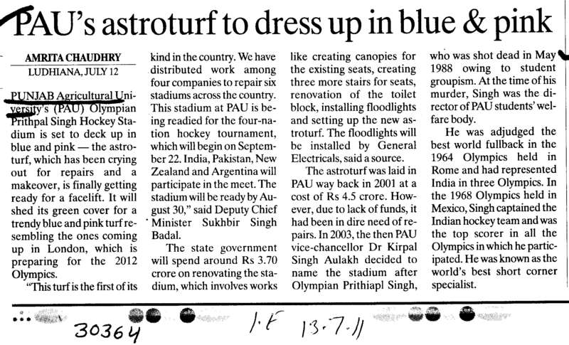 PAUs astroturf to dress up in blue and pink (Punjab Agricultural University PAU)