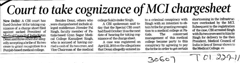 Court to take cognizance of MCI chargesheet (Medical Council of India (MCI))