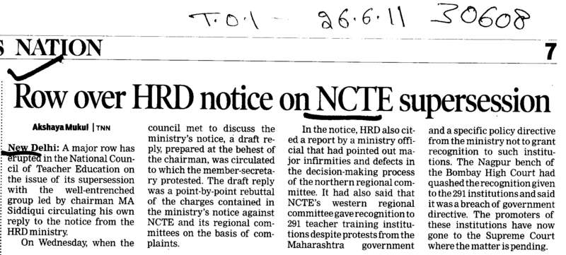 Row over HRD notice on NCTE supersession (National Council for Teacher Education NCTE)