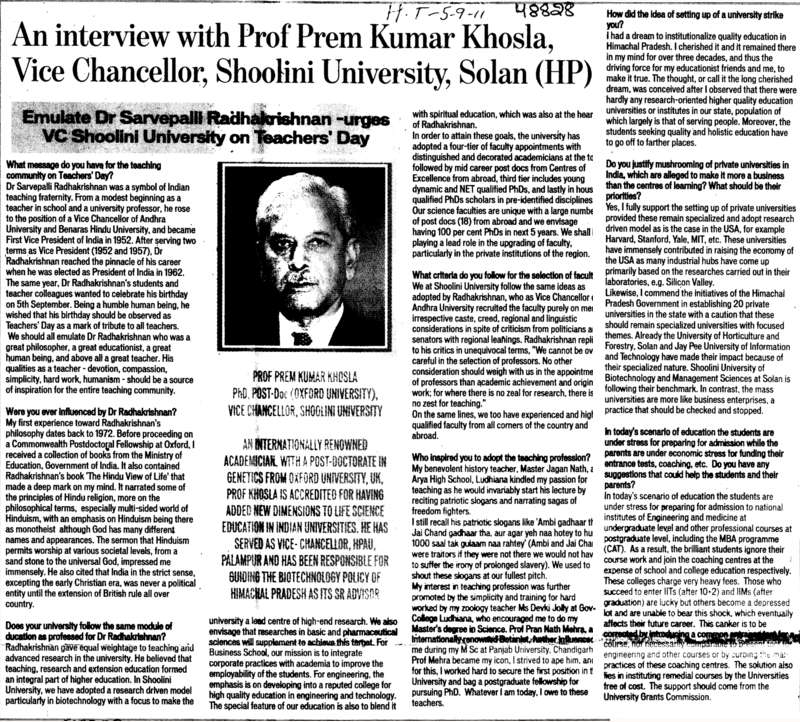 An interview with Prof Prem Kumar Khosla VC of Shoolini University Solan (Shoolini University)