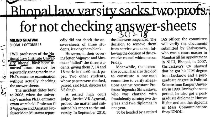 Bhopal Law varsity sacks two profs for not checking answer sheets (National Law Institute University (NLIU))
