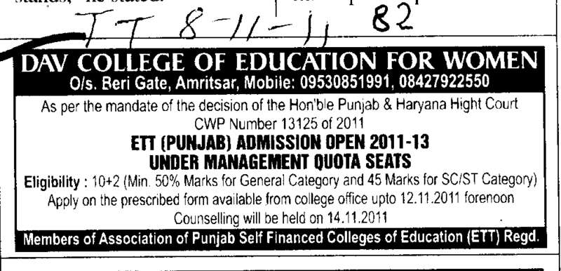 Management quota seats for ETT (DAV College of Education for Women)
