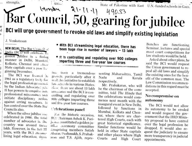 Bar Council 50 gearing for jubilee (Bar Council of India (BCI))