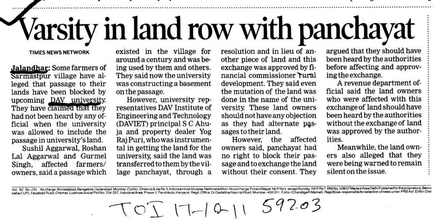 Varsity in land row with panchayat (DAV University)