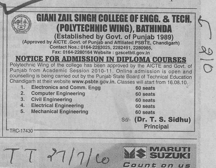 Diploma Course in CSE ECE and Mechanical Engg (Giani Zail Singh College Punjab Technical University (GZS PTU) Campus)