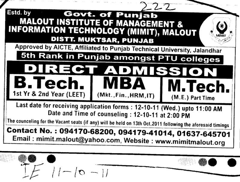 BTech MBA and MTech (Malout Institute of Management and Information Technology MIMIT)