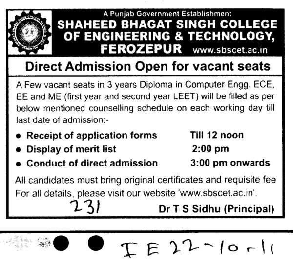 Three years Diploma through LEET (Shaheed Bhagat Singh State (SBBS) Technical Campus)