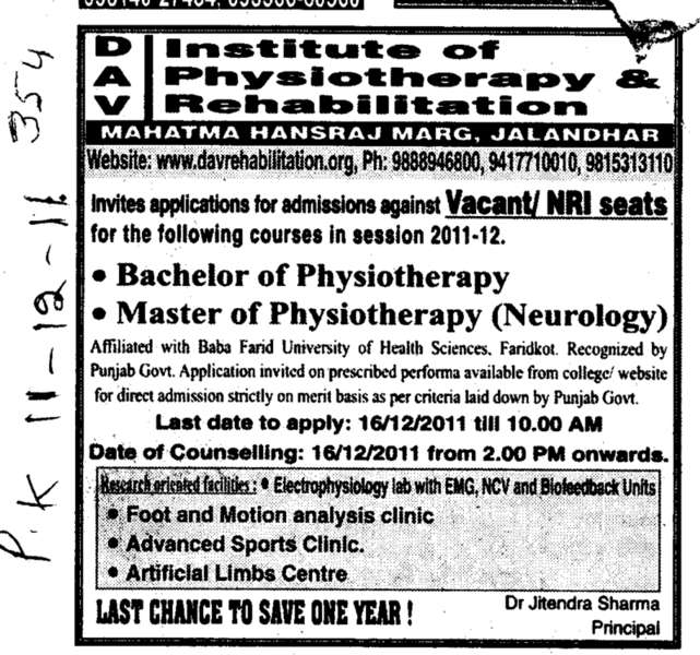 Bachelor of Physiotherapy and Master of Physiotherapy (DAV Institute of Physiotherapy and Rehabilitation)