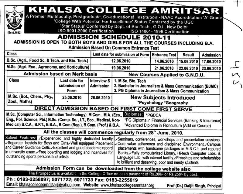 MCom MSc BSc BCA MCA and BBA etc (Khalsa College)