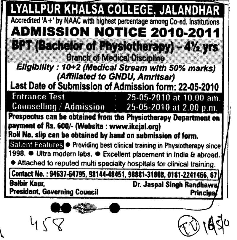 Bachelor of Physiotherapy (Lyallpur Khalsa College of Boys)