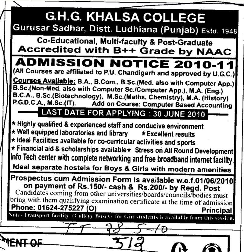 BSc BCA MCA and PGDCA etc (GHG Khalsa College)