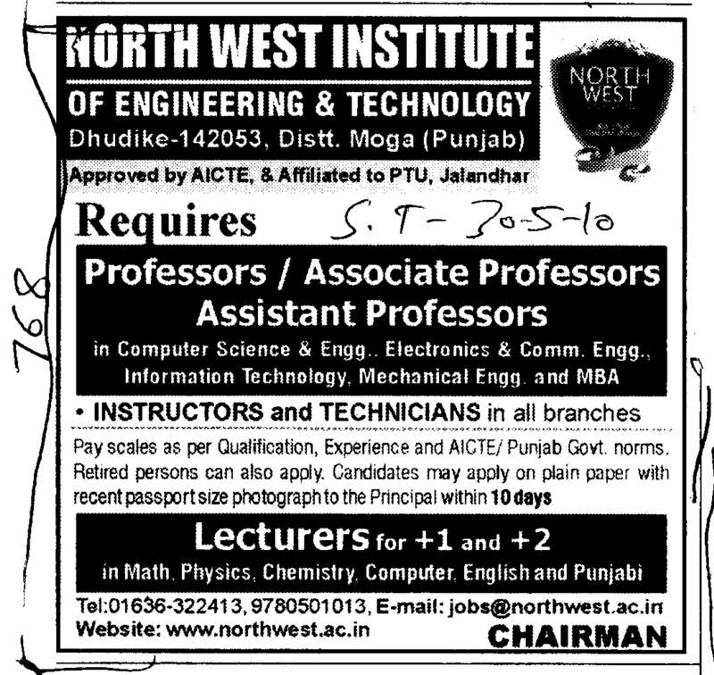 Proffessors Assistant Proffessors and Associate Proffessors etc (North West Institute of Engineering and Technology NWIET Moga)