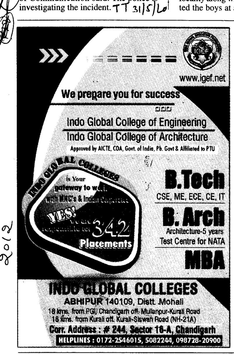 BTech BArch and MBA (Indo Global Group of Colleges)