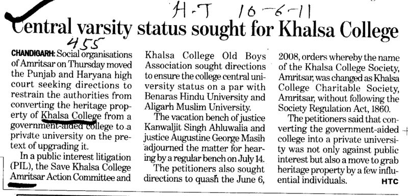 Central varsity status sought for Khalsa College (Khalsa College)