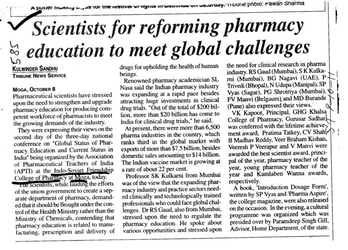 Scientists for reforming pharmacy education to meet global challenges (ISF College of Pharmacy)