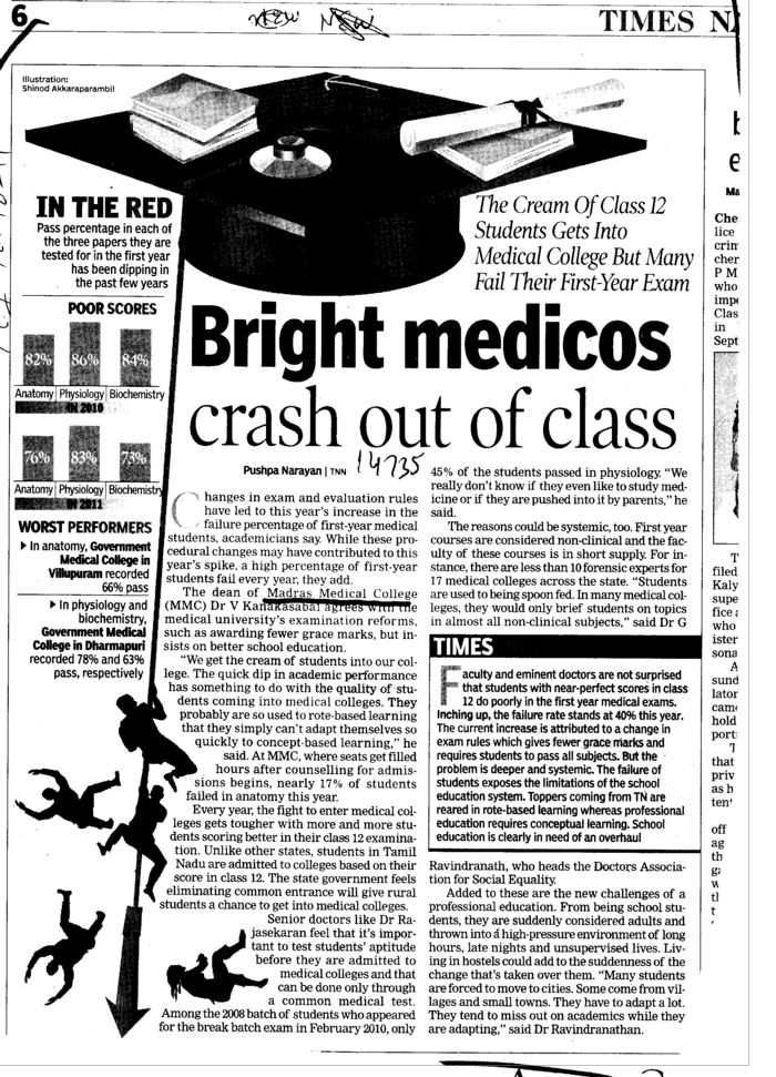 Bright medicos crash out of class (Chennai Medical College (formerly:Madras Medical College))