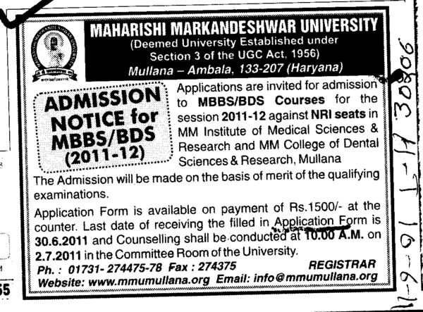 MBBS and BDS Programmes (Maharishi Markandeshwar University)