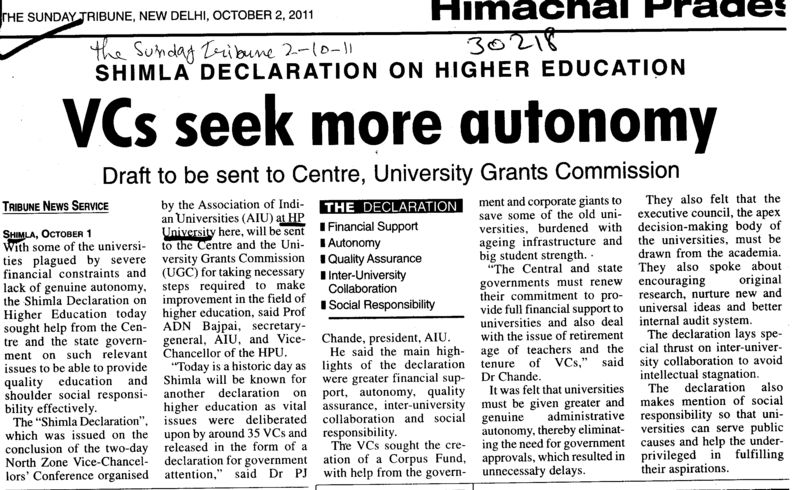 VCs seek more autonomy (Himachal Pradesh University)