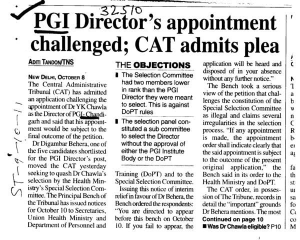 PGI Directors appointment challenged (Post-Graduate Institute of Medical Education and Research (PGIMER))