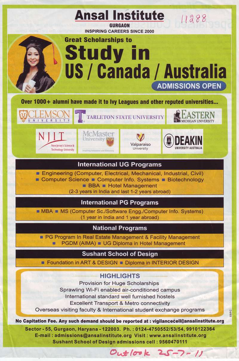 BTech in CSE ECE MBA and PGDM etc (Ansal Institute of Technology)