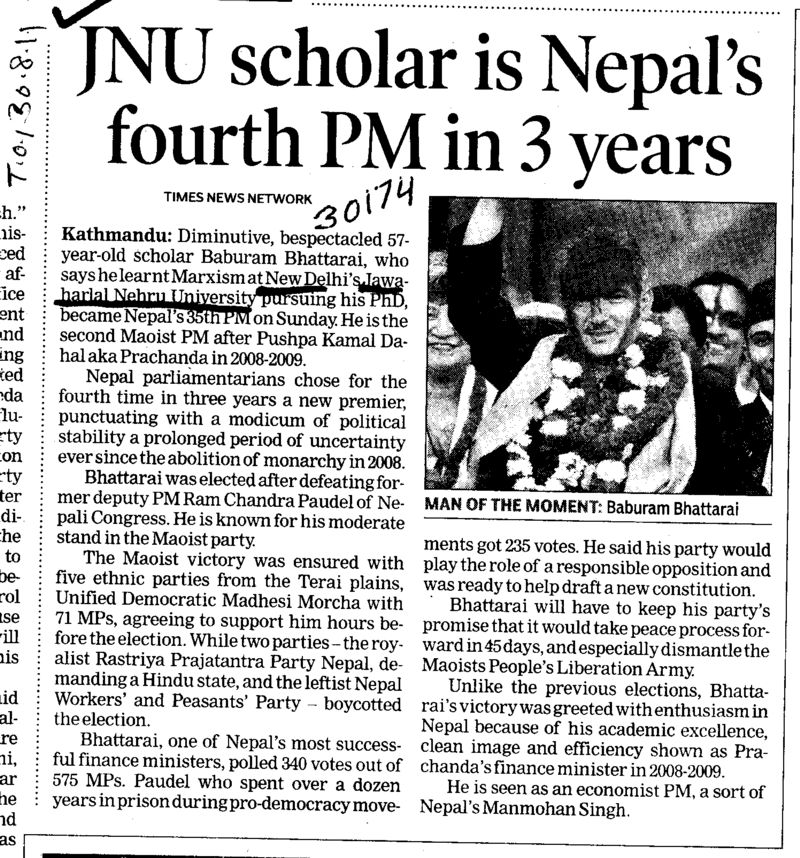 JNU scholar is Nepals fourth PM in 3 years (Jawaharlal Nehru University)