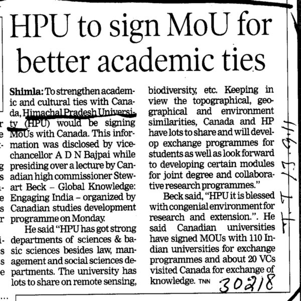HPU to sign MoU for better academic ties (Himachal Pradesh University)
