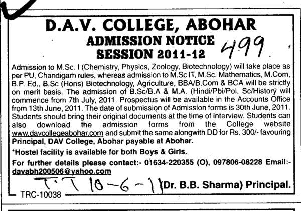 MSc in Chemistry Physics and BPED etc (DAV College)
