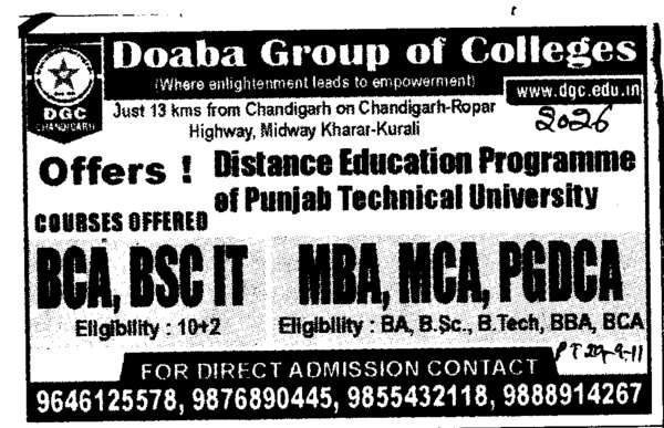 BCA MCA MBA and PGDCA etc (Doaba Group of Colleges (DGC))