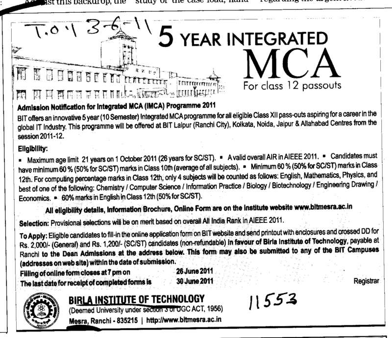 MCA Programmes (Birla Institute of Technology (BIT Mesra))