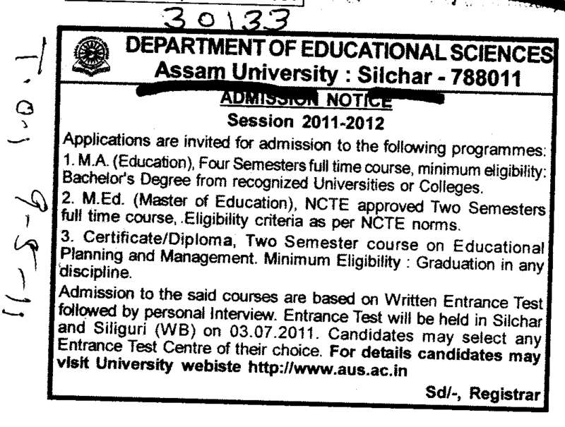 MA MEd and Diploma Programmes (Assam University)