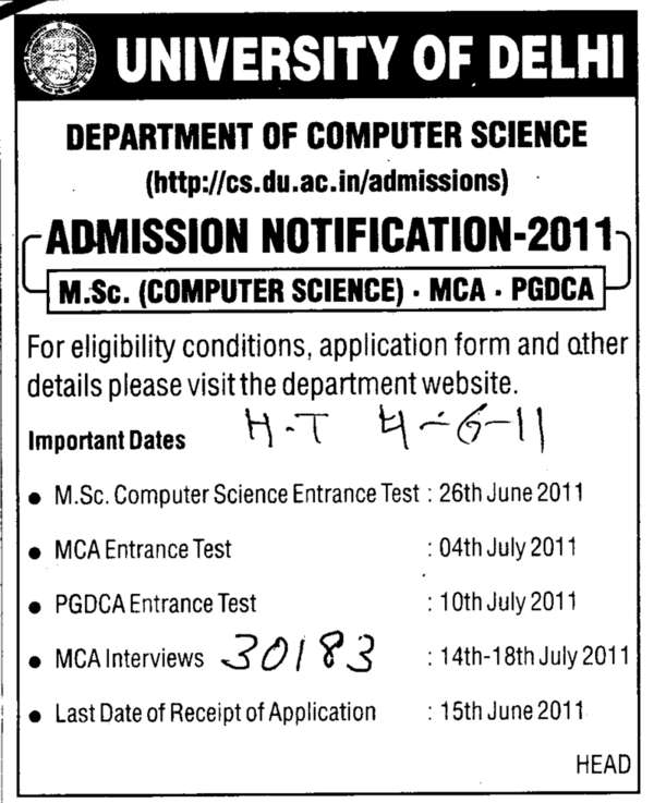 MCA PGDCA and MSc in Computer Science (Delhi University)