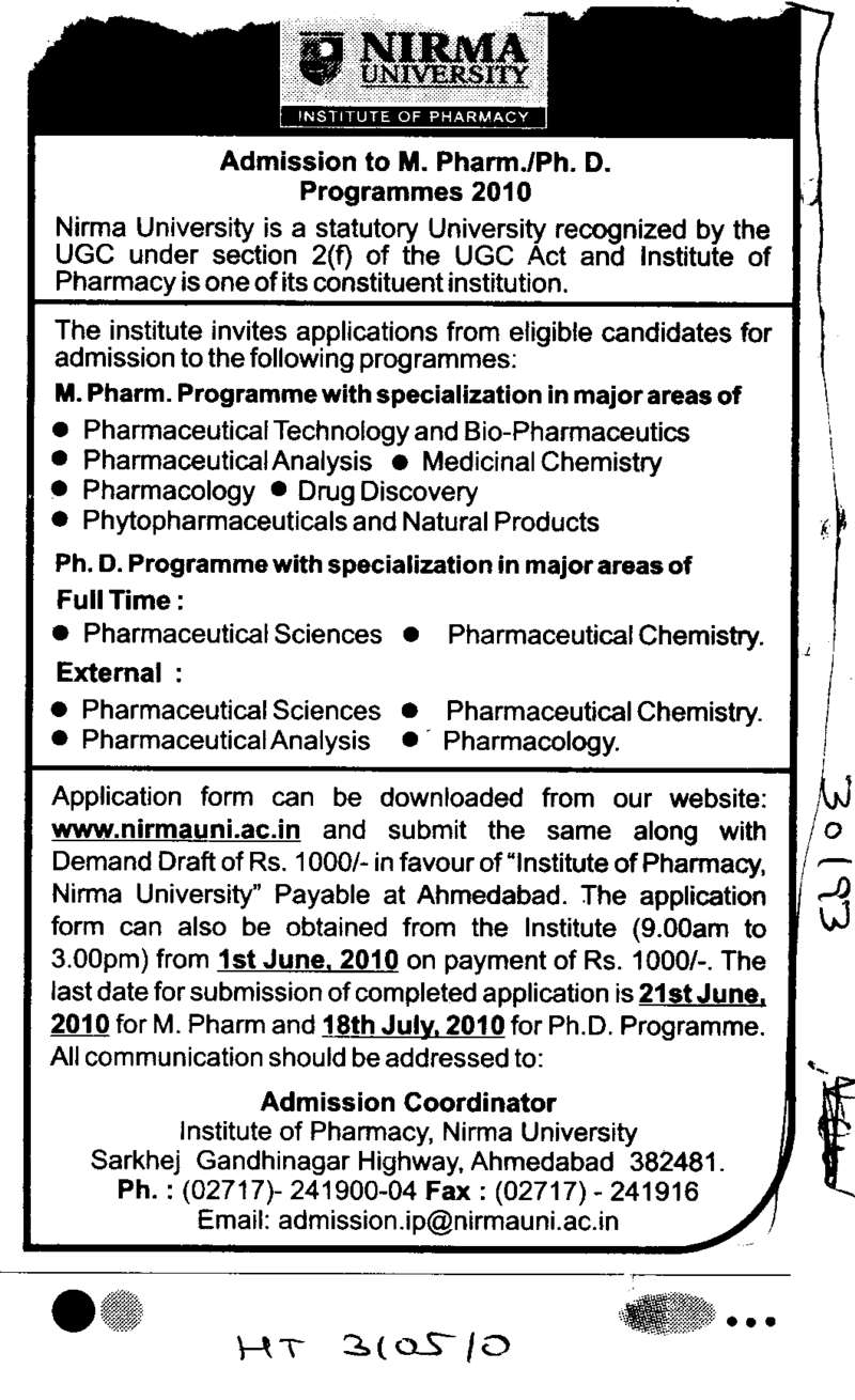 MPharm and PhD Programmes (Nirma University)