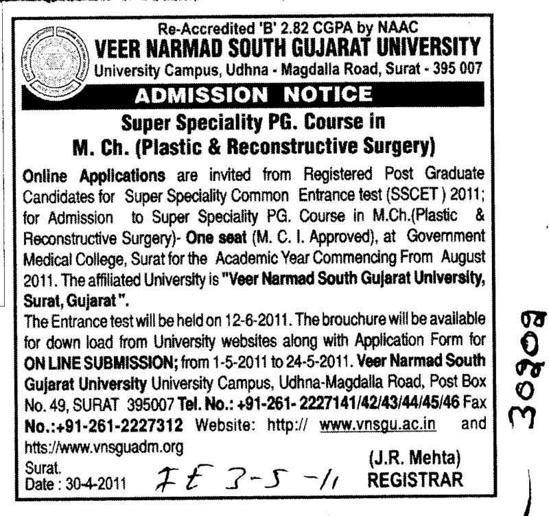 Plastic and Reconstructive Surgery (Veer Narmad South Gujarat University)