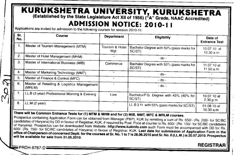 MTM MHM MIB and LLM etc (Kurukshetra University)